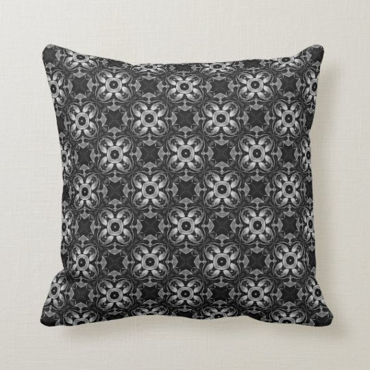 Black and Silver Steampunk Flowers Style 012 Cushion