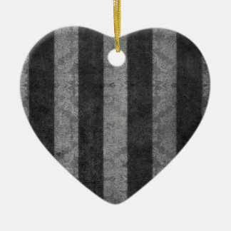 Black and Silver stripes by John Ceramic Heart Decoration