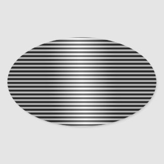Black and Silver Stripes Oval Sticker