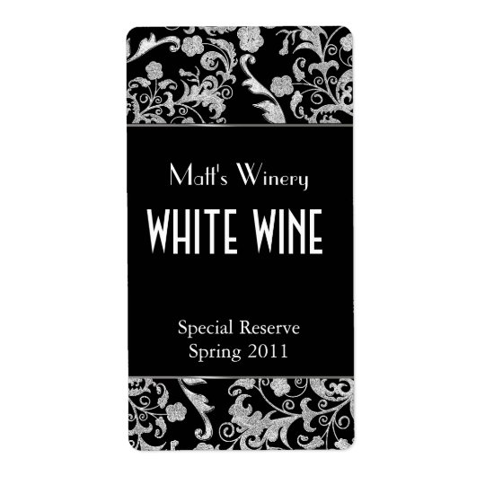 Black and Silver Tone Fleur Home Made Wine Labels