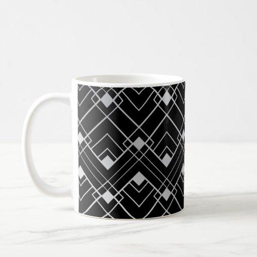 Black and Silver Vintage Art Deco Design Mug