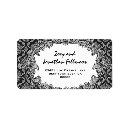 Black and Silver Vintage Curlicue Damask S465 Label