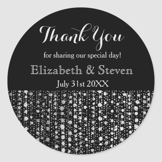 Black and Silver Wedding Favour Sparkle Stickers