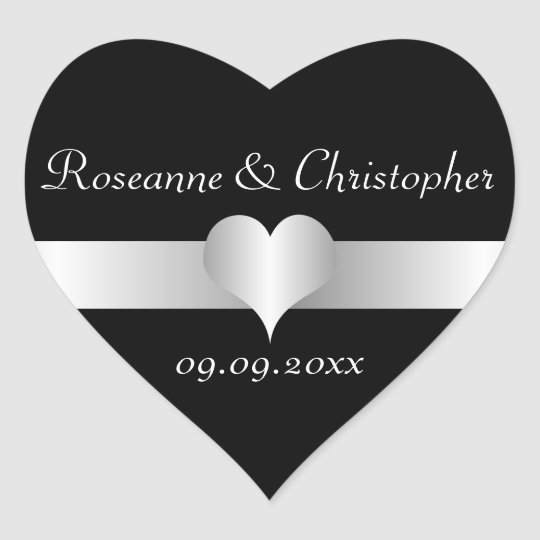 Black And Silver Wedding Heart Sticker