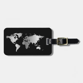 Black and silver World map elegant Luggage Tag