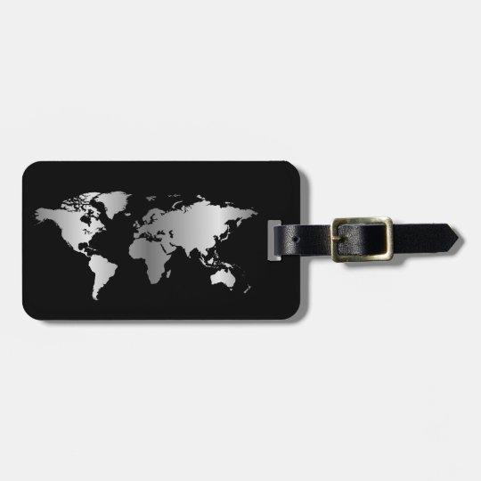 Black and silver World map elegant Luggage Tag