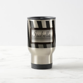 Black and Silver Zebra Stripes with Nameplate Stainless Steel Travel Mug