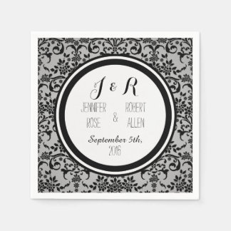 Black and Silvery Grey Damask Wedding Napkin Disposable Napkin