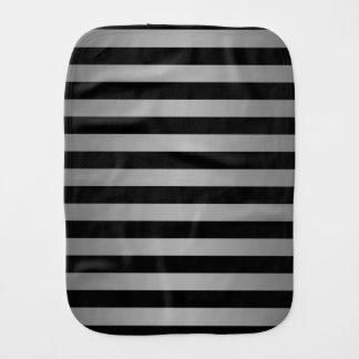 Black and Silvery Grey Stripes Pattern Burp Cloth