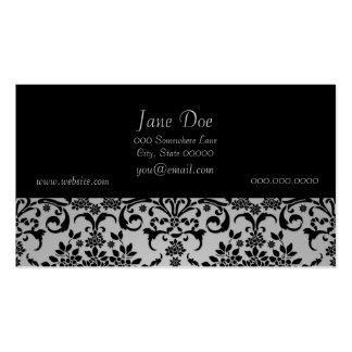 Black and Silvery White Floral Damask Pattern Pack Of Standard Business Cards