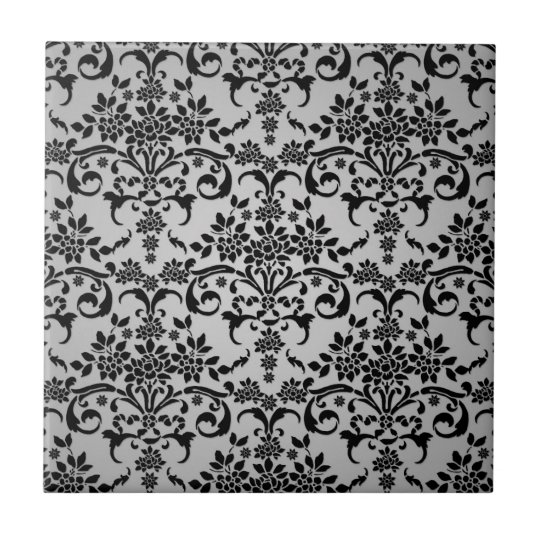 Black and Silvery White Floral Damask Pattern Tile