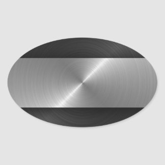 Black And Steel Oval Sticker