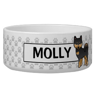 Black And Tan Cartoon Shiba Inu Pet Water Bowls
