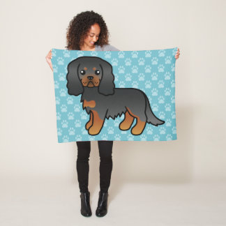 Black And Tan Cavalier King Charles Spaniel Dog Fleece Blanket