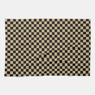 Black and Tan Checkered Hand Towel