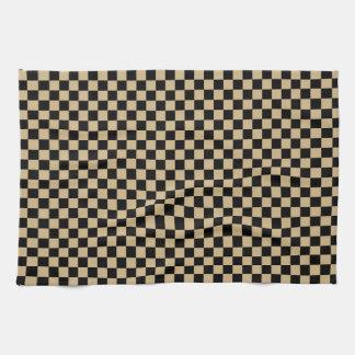 Black and Tan Checkered Tea Towel