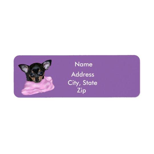 Black and Tan Chihuahua Puppy Return Address Label