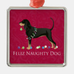 Black and Tan Coonhound Christmas Silver-Colored Square Decoration