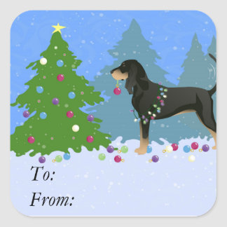 Black and Tan Coonhound Decorating Christmas Tree Square Sticker