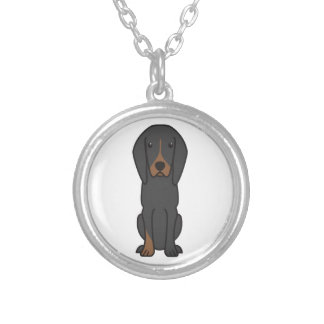 Black and Tan Coonhound Dog Cartoon Silver Plated Necklace