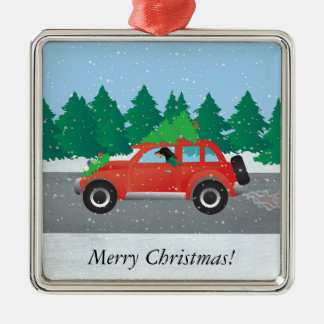 Black and Tan Coonhound Driving Christmas Car Silver-Colored Square Decoration