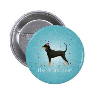 Black and Tan Coonhound Happy Birthday Design 6 Cm Round Badge