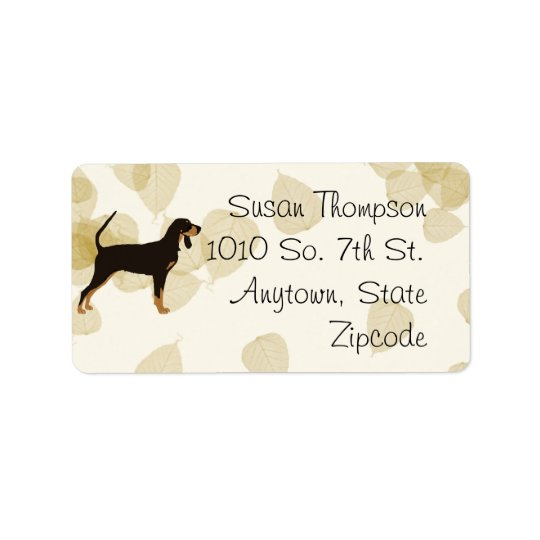 Black and Tan Coonhound on Tan Leaves Label