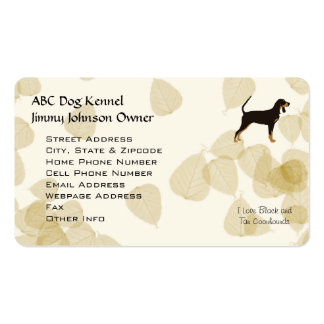 Black and Tan Coonhound on Tan Leaves Pack Of Standard Business Cards