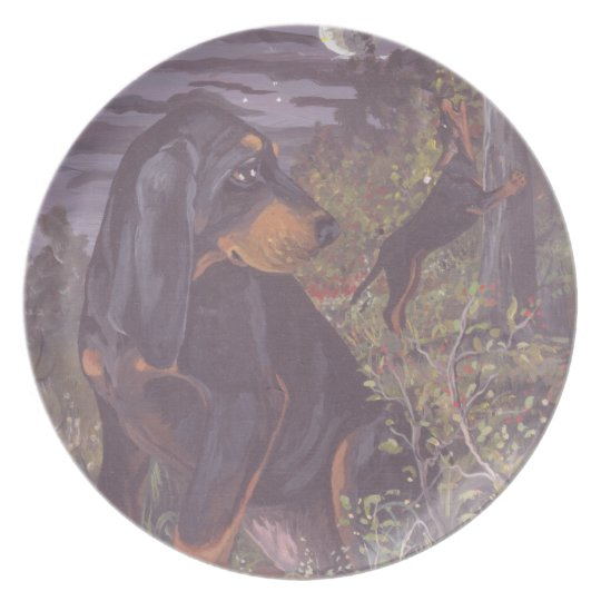 Black and Tan Coonhound Puppy Dreamer Dinner Plate