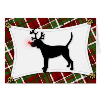 Black and Tan Coonhound Reindeer Christmas Card