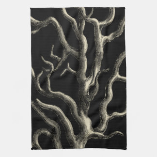 Black and Tan Coral Hand Towel