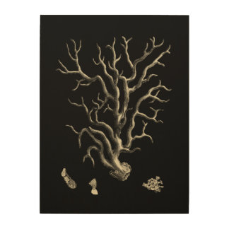 Black and Tan Coral Wood Wall Art