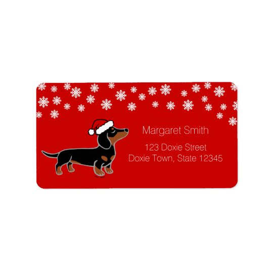 Black and Tan Dachshund Christmas Posing Labels