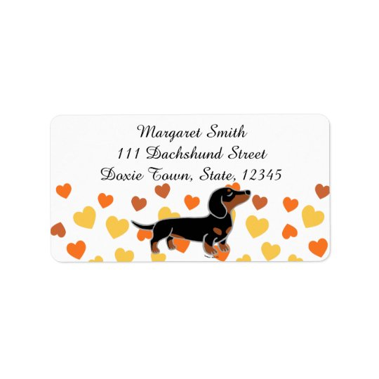 Black and Tan Dachshund Posing Address Label
