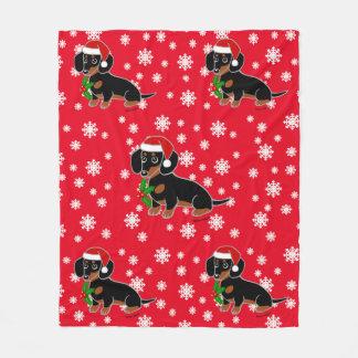 Black and Tan Dachshund Santa Fleece Blanket