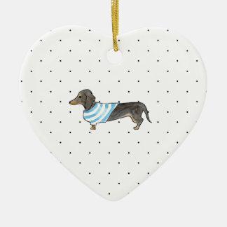 Black and Tan Dachshund - Watercolor andPolka Dots Ceramic Heart Decoration