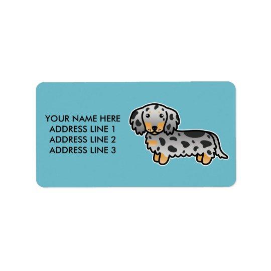 Black And Tan Dapple Long Coat Dachshund Dog Address Label
