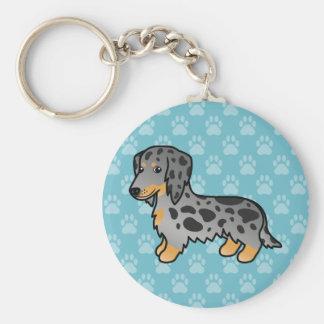 Black And Tan Dapple Long Coat Dachshund Dog Key Ring