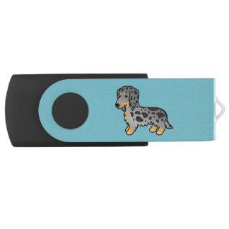 Black And Tan Dapple Long Coat Dachshund Swivel USB 2.0 Flash Drive