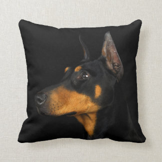 Black and tan Doberman Pinscher pillow. Cushion
