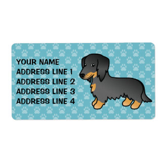Black And Tan Long Coat Dachshund Dog Shipping Label