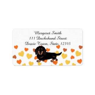 Black and Tan Long Haired Dachshund 1 Address Label