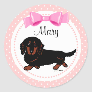 Black and Tan Long Haired Dachshund 1 Round Sticker