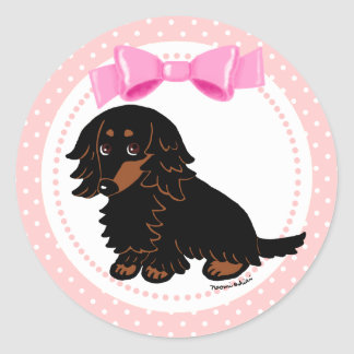 Black and Tan Long Haired Dachshund 2 Round Sticker
