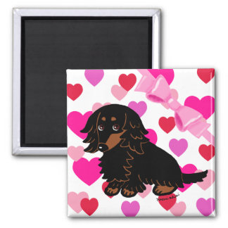 Black and Tan Long Haired Dachshund 3 Square Magnet