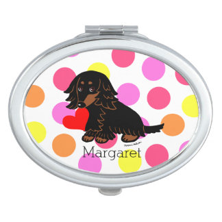 Black and Tan Long Haired Dachshund Travel Mirrors
