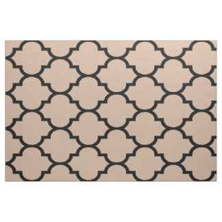 Black And Tan Modern Quatrefoil Geometric Patter Fabric