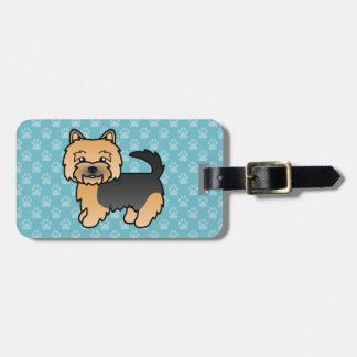 Black And Tan Norwich Terrier Cartoon Dog Luggage Tag