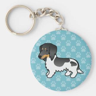 Black And Tan Piebald Long Coat Dachshund Dog Basic Round Button Key Ring