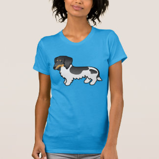 Black And Tan Piebald Long Coat Dachshund Dog T-Shirt